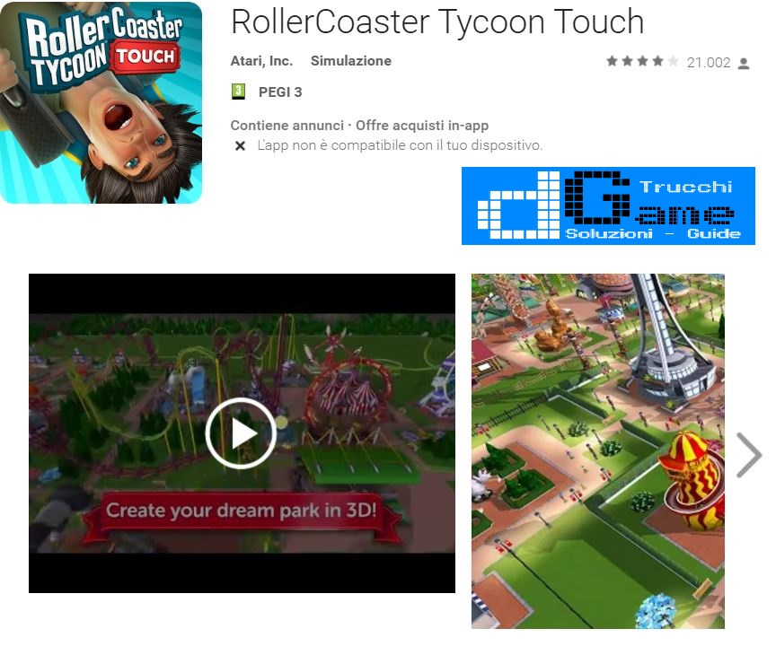 Trucchi RollerCoaster Tycoon Touch Mod Apk Android 1.2.21