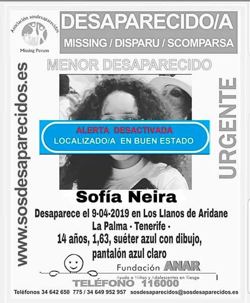 La niña Sofía Neira, localizada en buen estado, Los Llanos de Aridane, La Palma