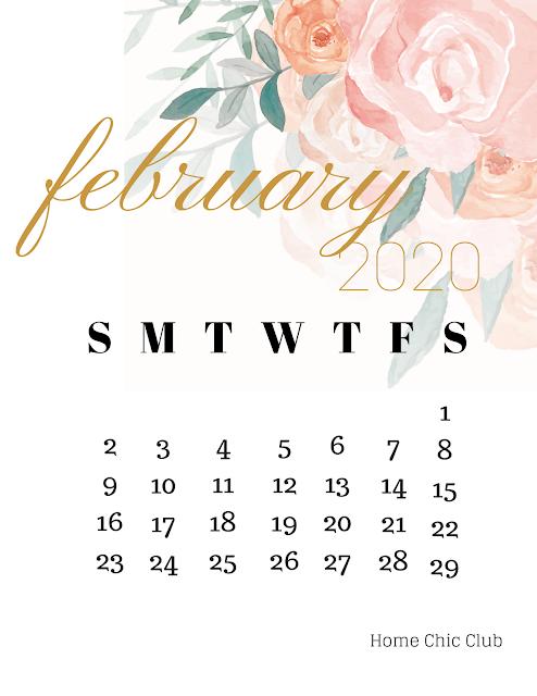February 2020 Printable Calendar + Valentine`s Day Card