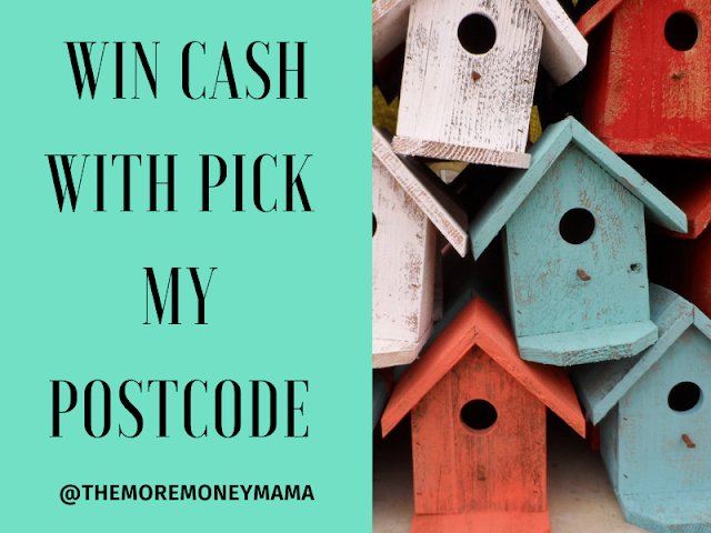 Image of several small wooden bird houses alongside a green square that has words that read 'win cash with pick my postcode' @themoremoneymama