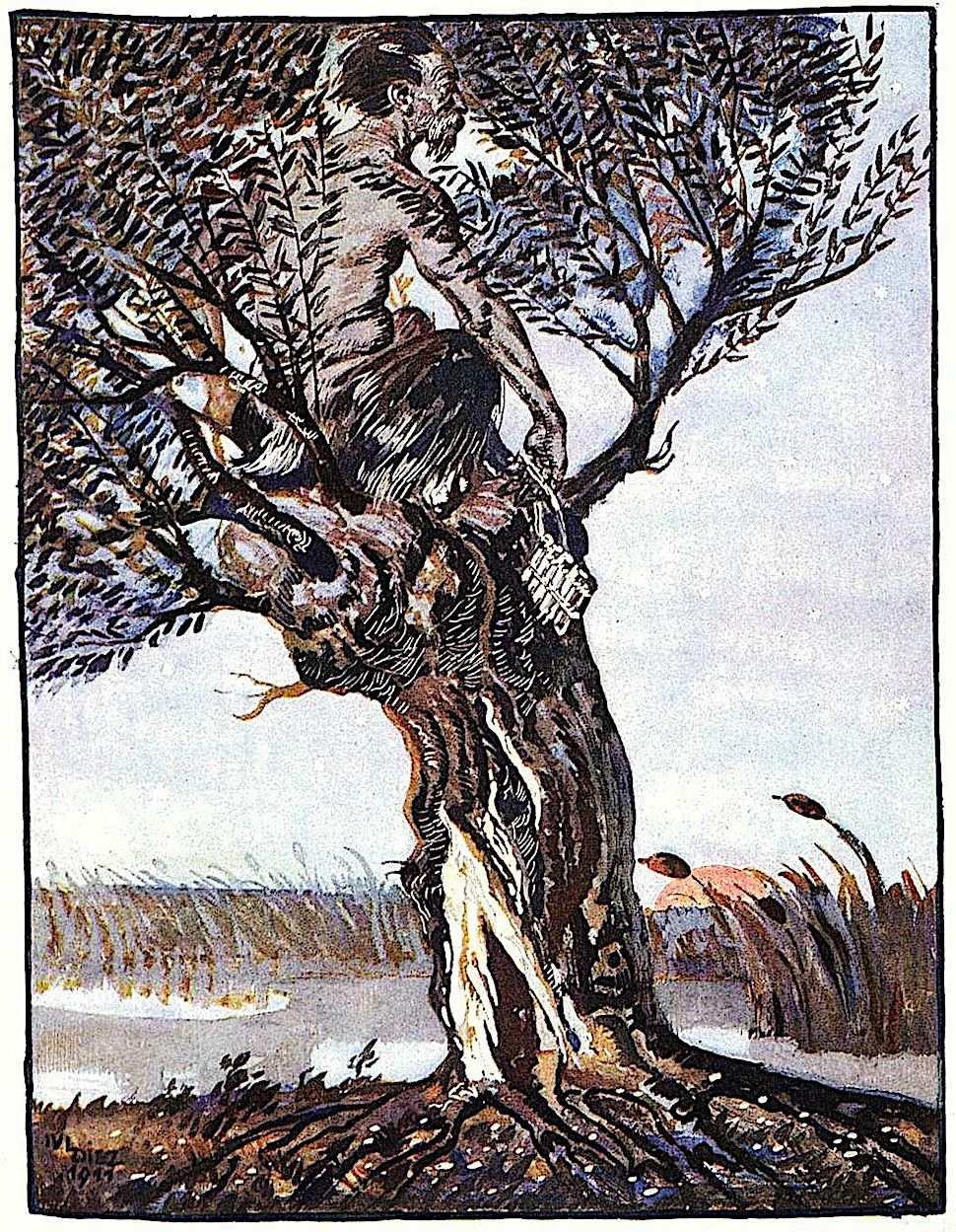 a Julius Diez illustration of Pan in a tree near some marshes, for Jugend?