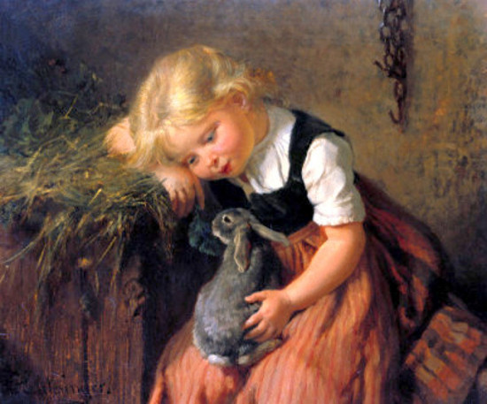 Children and Their Pet Rabbits  Antique Oil Paintings