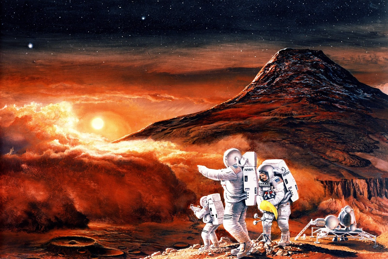 Astronauts exploring Mars by Ren Wicks
