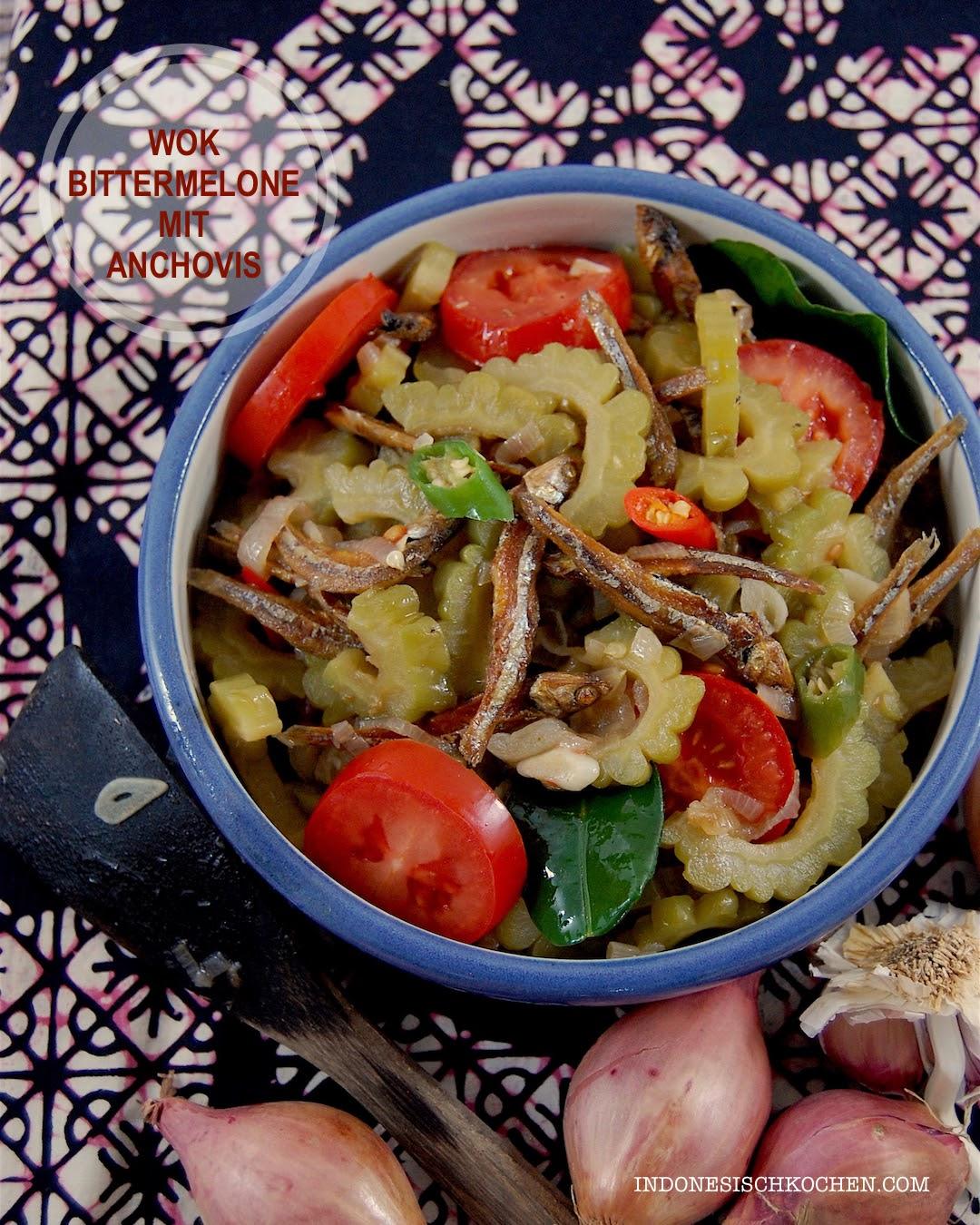Rezept aus Bali, wok Bittermelone und Anchovis