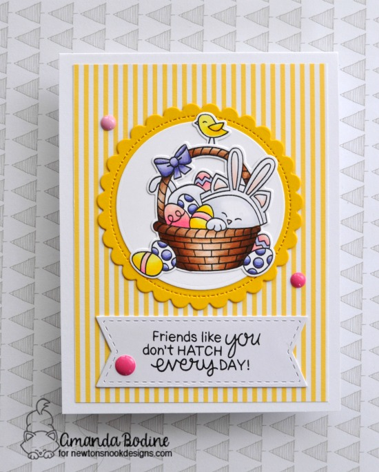 Easter Cat Card by Amanda Bodine | Newton's Easter Basket Stamp Set by Newton's Nook Designs #newtonsnook #handmade