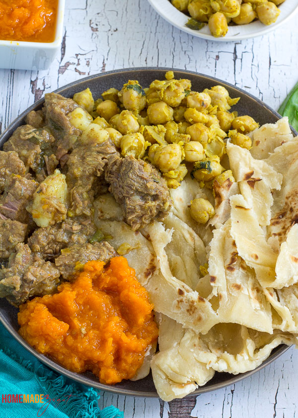 Close up of what to eat with curry beef. Pumpkin and curry channa with curry beef