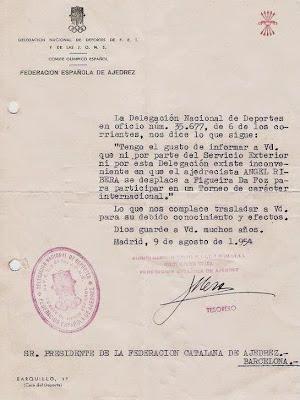Autorización oficial para salir de España en 1954