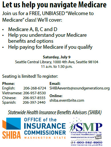 Learn more about Medicare at free event July 9 in Seattle