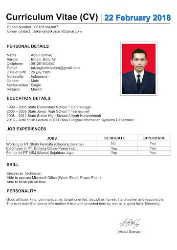 Contoh CV Lamaran Kerja (Curriculum Vitae)
