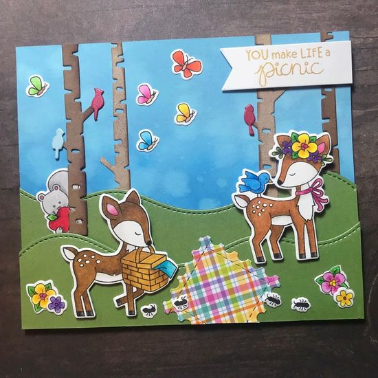 You make life a picnic by Amy T. features Woodland Picnic, Woodland Spring, and Forest Scene Builder by Newton's Nook Designs; #newtonsnook
