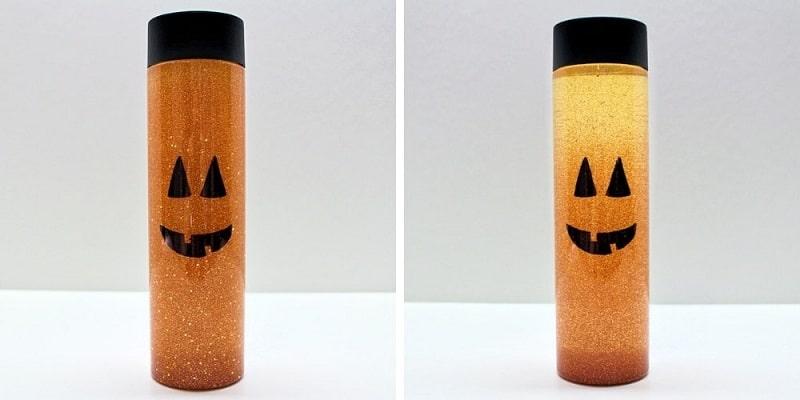 jack-o-lantern glitter sensory bottle