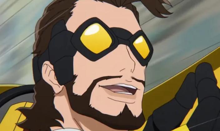 Imagem de capa: um personagem do anime, Johnny Bolt, um homem branco com cabelos e barba castanhos, óculos de proteção azul com lentes amarelas, traje amarelo com luvas, dirigindo um veículo nas mesmas cores em alta velocidade.