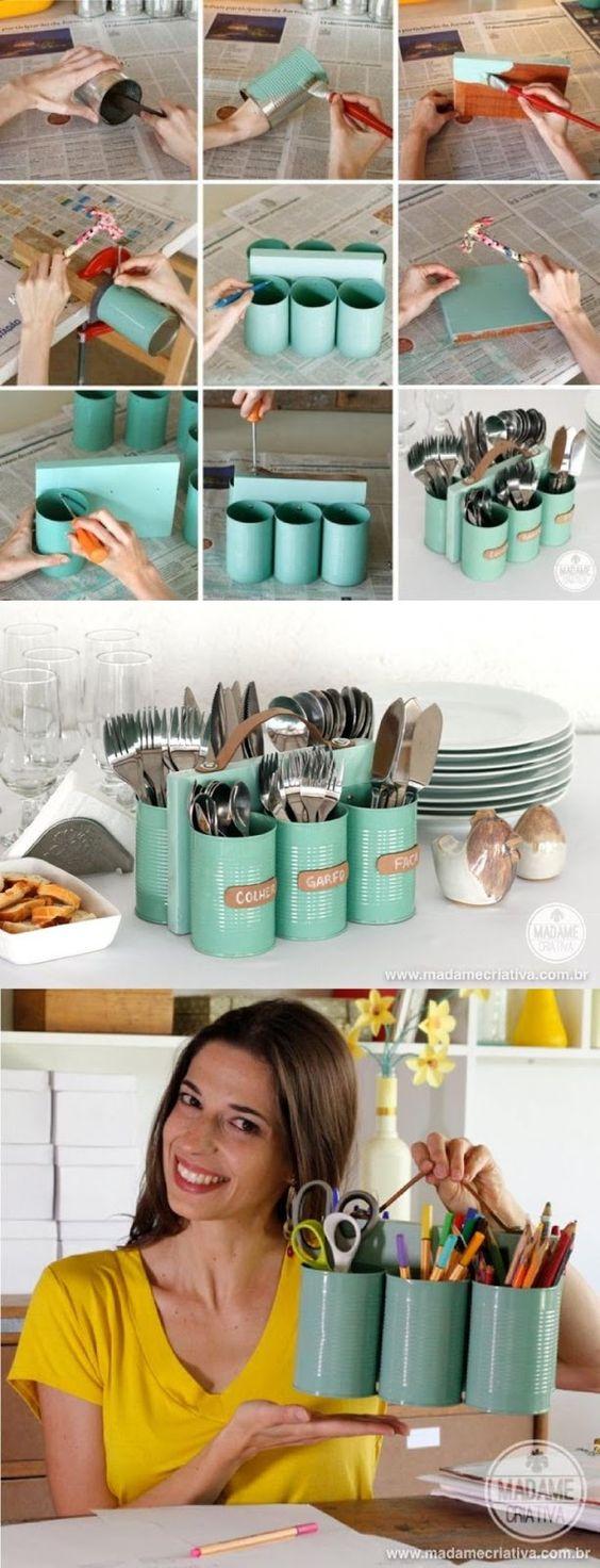 Un bonito organizador con latas