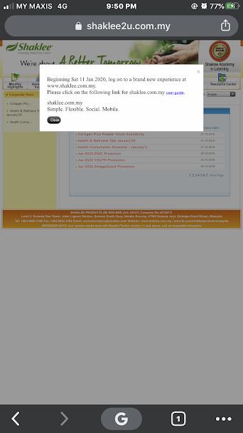 website shaklee yang lama