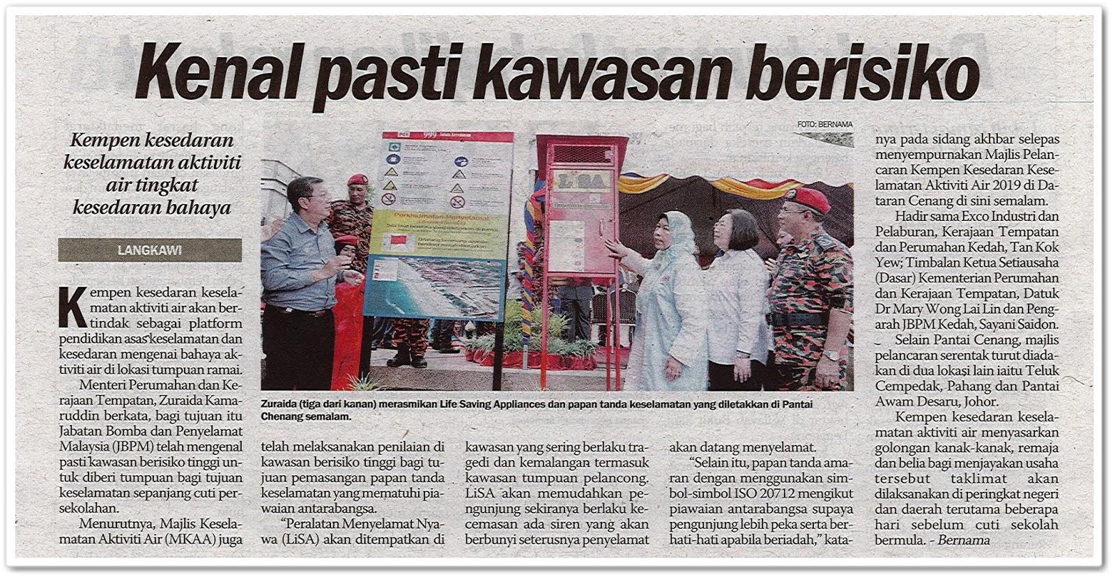 Kenal pasti kawasan berisiko - Keratan akhbar Sinar Harian 11 November 2019