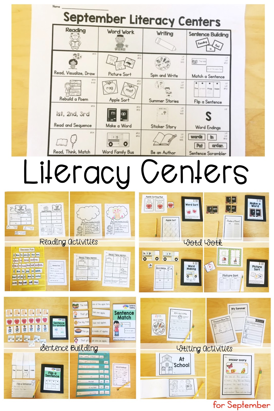 This is an image of Unforgettable Printable Literacy Centers First Grade