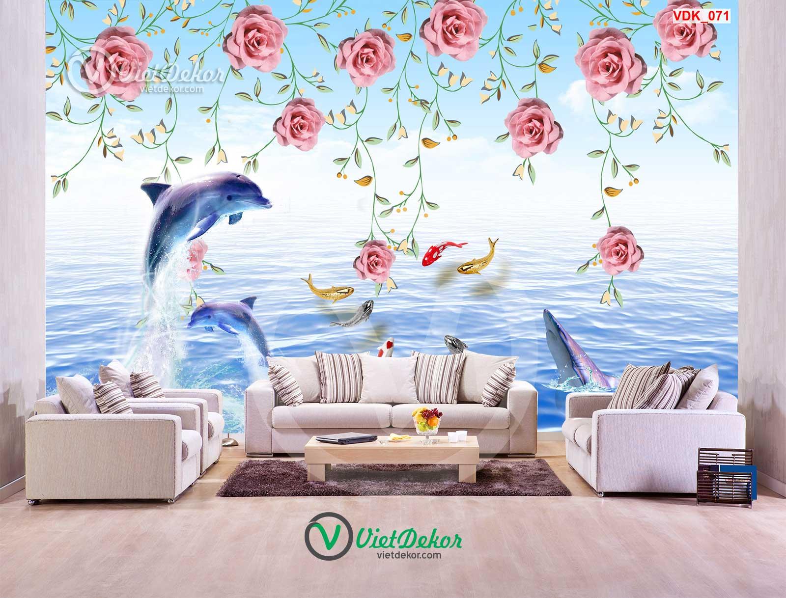 Tranh dán tường hoa 3d đàn cá trên biển