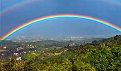 pelangi akibat peristiwa dispersi cahaya dengan konsep sudut deviasi prisma optik