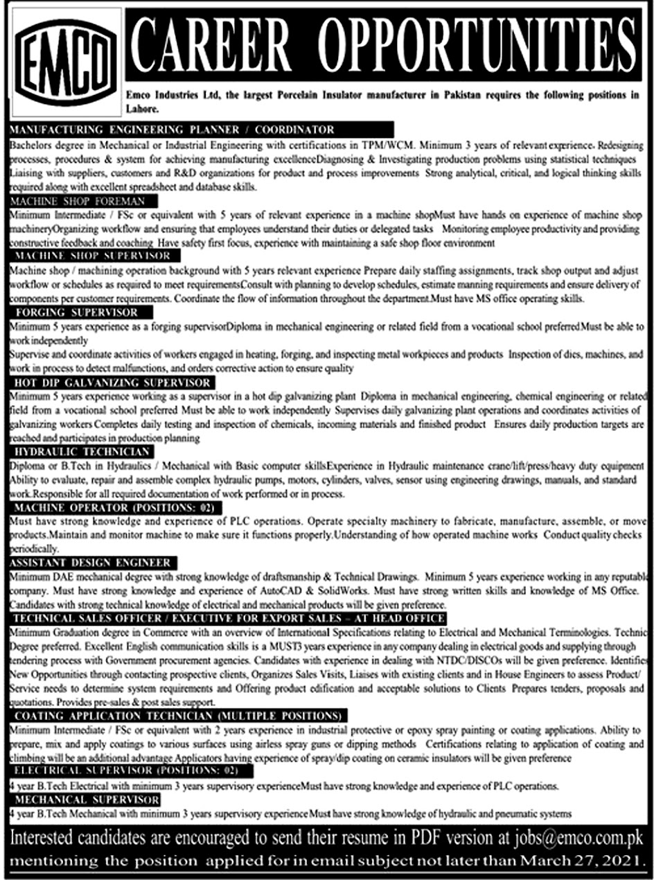 Latest Jobs in EMCO Industries Limited Lahore March 2021