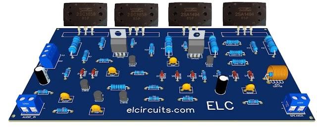 300W RMS Power Amplifier - 2SC3858 and 2SA1494 Transistors + PCB