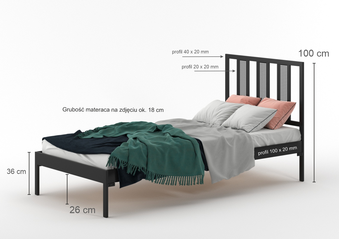 Łóżko metalowe Rio (wzór 16) szerokość 80-120 cm