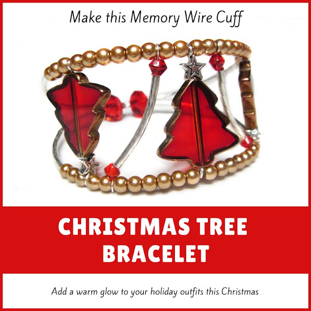 Red and Gold Christmas Tree memory wire cuff