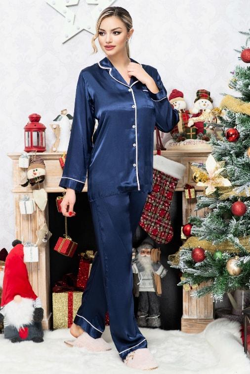 Pijama lunga eleganta bleumarin din satin lunga