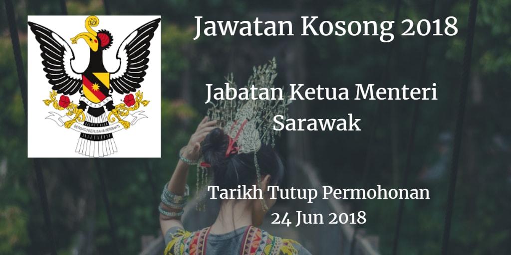 Jawatan Kosong Jabatan Ketua Menteri Sarawak 24 Jun 2018