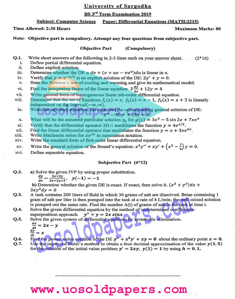 MATH-2215: Differential Equations, BS Computer Science, Term System