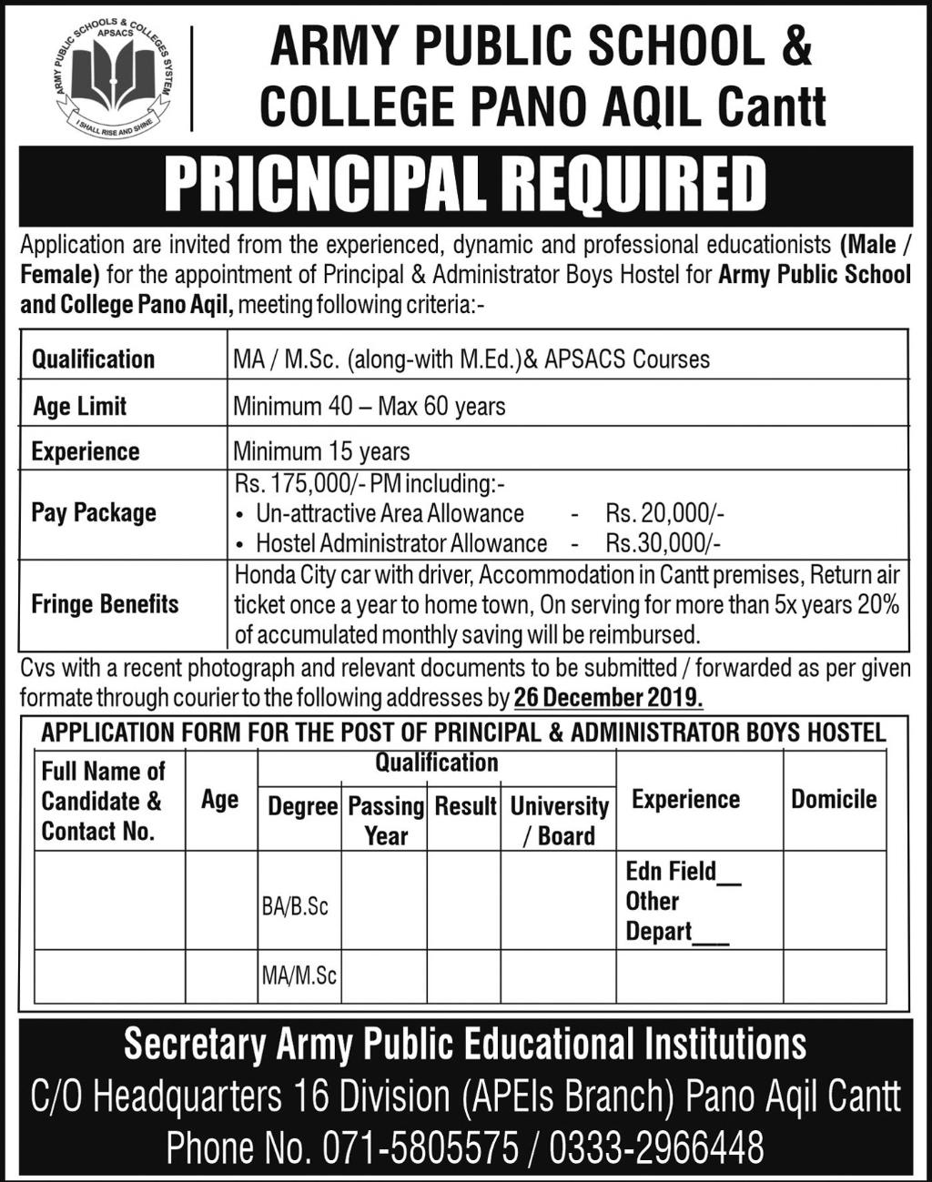 Army Public School & College Teaching Posts Pano Aqil 2019