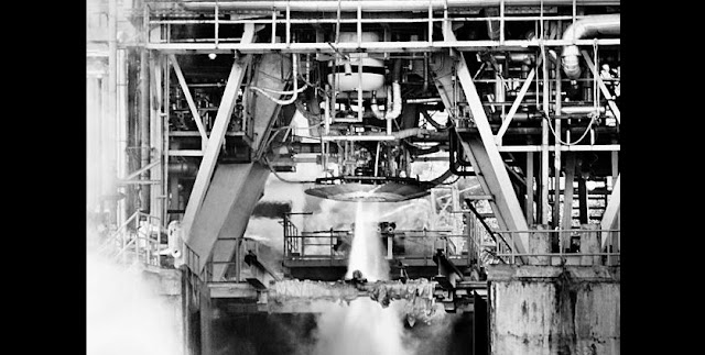 The high-thrust cryogenic engine CE20 undergoing hotbed test at the ISRO Propulsion Research Centre at Mahendragiri on Friday, Feb. 19. Credit: ISRO