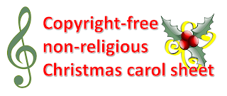 Non-copyright christmas carols and songs wordsheet, on one page