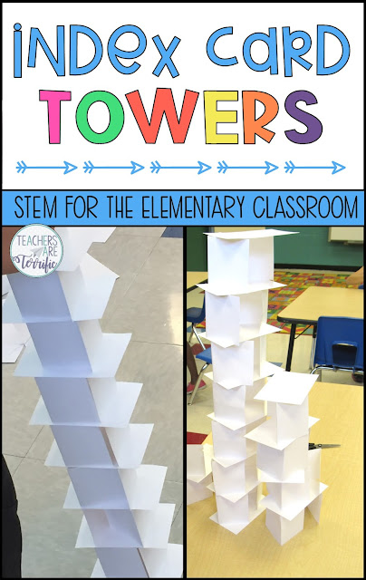 STEM Challenge- Build a tower using only two materials! This challenge is a kid-favorite! #teachersareterrific #STEM