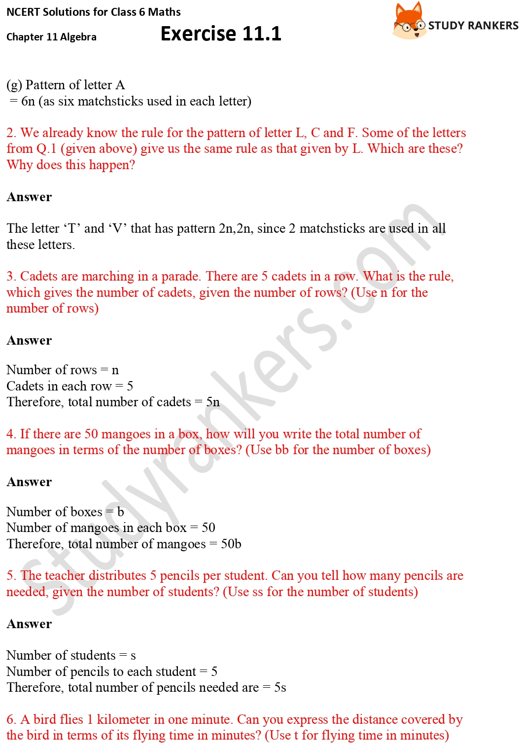 NCERT Solutions for Class 6 Maths Chapter 11 Algebra Exercise 11.1 Part 2