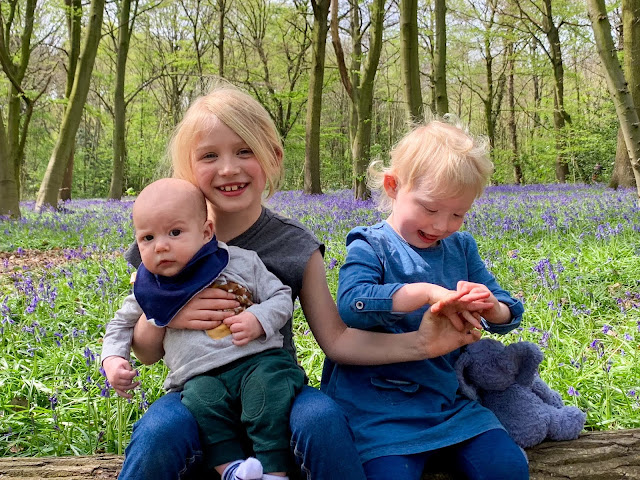 3 children aged a few months, 7 and 3 sit on a long in front of bluebells