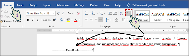 Menghapus Page Break Secara Manual 1