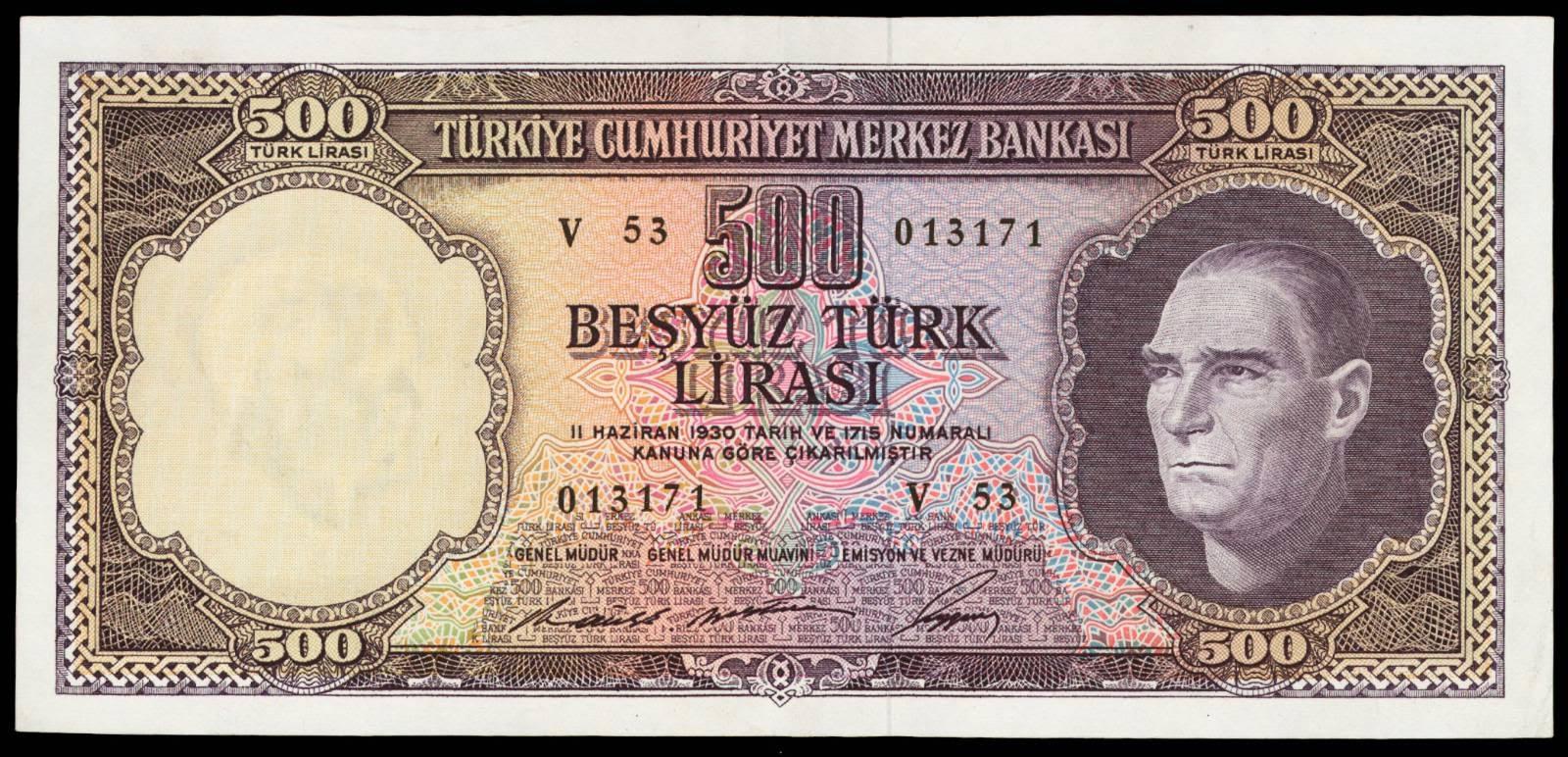 Turkey banknotes 500 Turkish Lira banknote 1962 Atatürk
