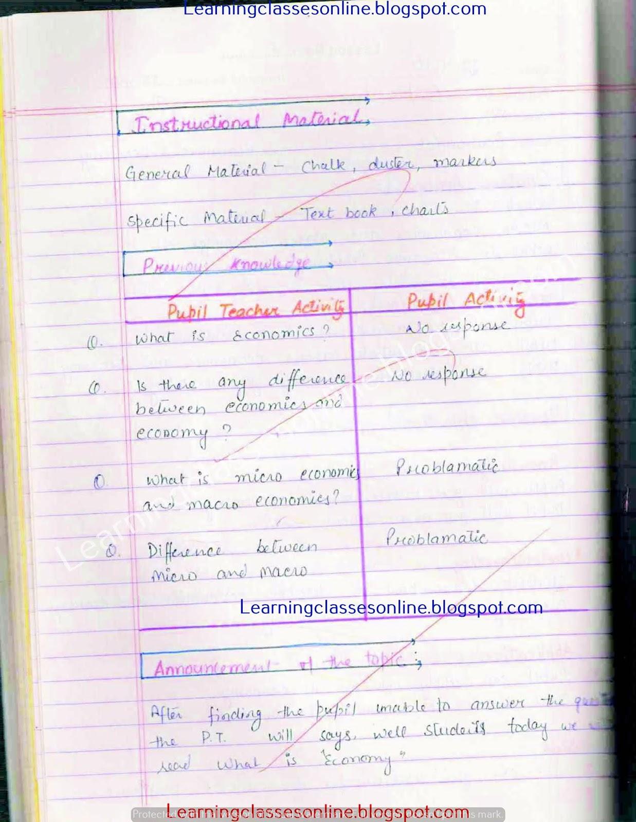 BEd lesson plan for economics teachers of 12