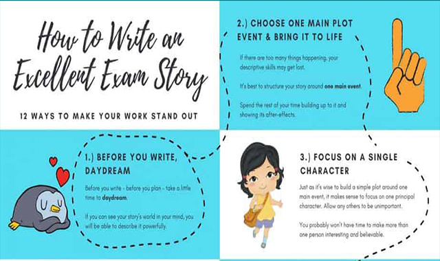 Creative Writing Tips For Excellent Exam Stories #infographic