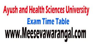 Ayush / Health Science University B.Sc Nursing I Year 2016 Exam Time Table