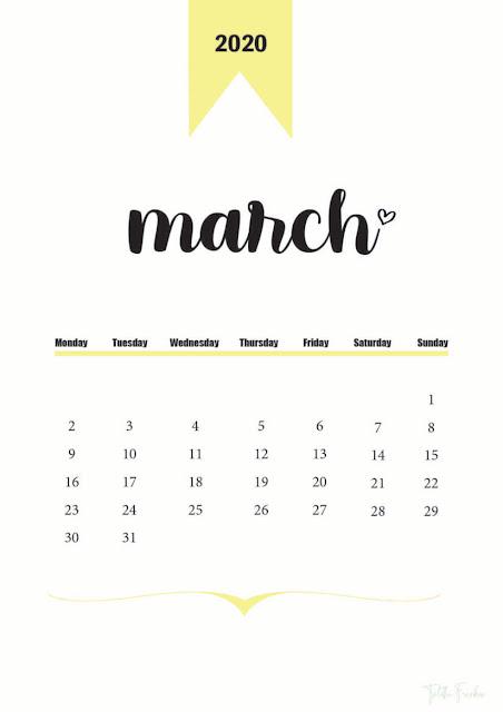 Calendario hermoso amarillo de marzo 2020