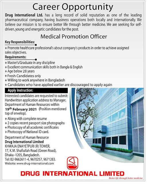 Drug International Ltd Job Circular 2021