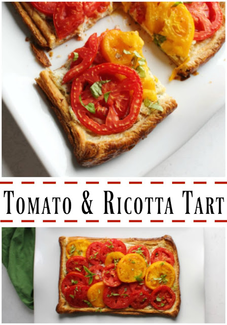 Fresh slices of vine ripened tomatoes, a basil and ricotta cheese filling and golden puff pastry crust come together to make this delicious flaky tomato tart. It is a perfect summer appetizer, lunch or light dinner when paired with a salad.