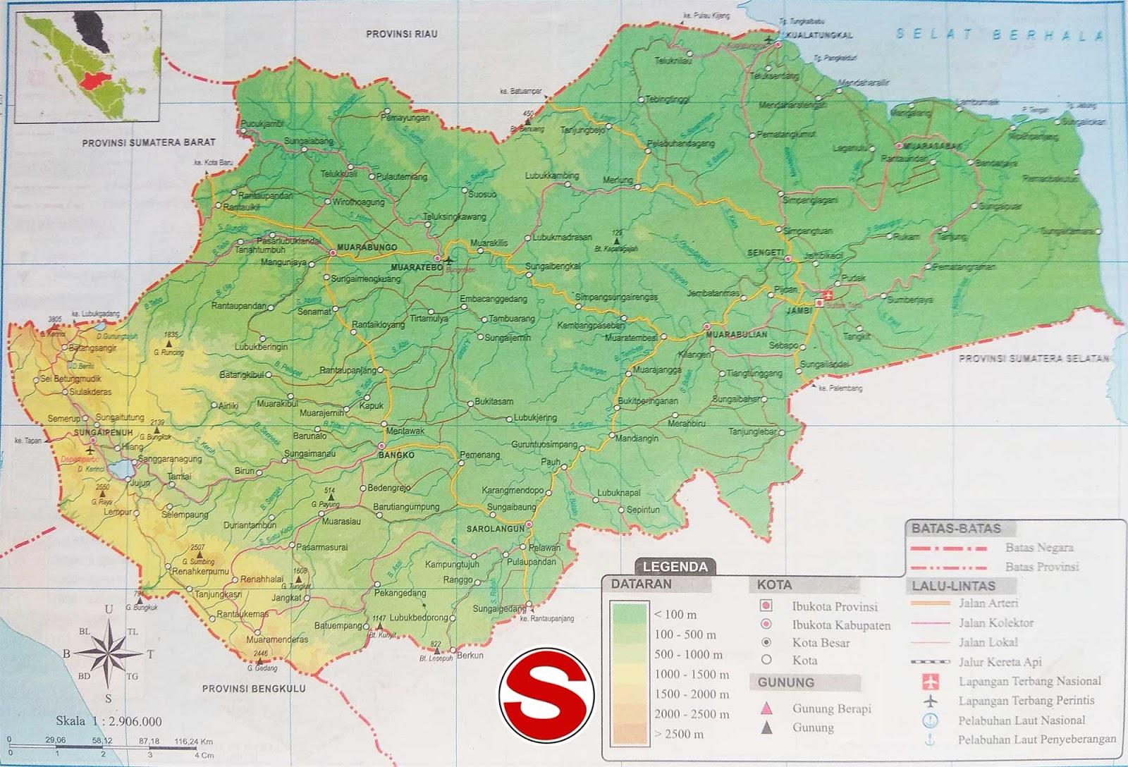 Peta Atlas Provinsi Jambi di bawah ini mencakup peta dataran Peta Atlas Provinsi Jambi