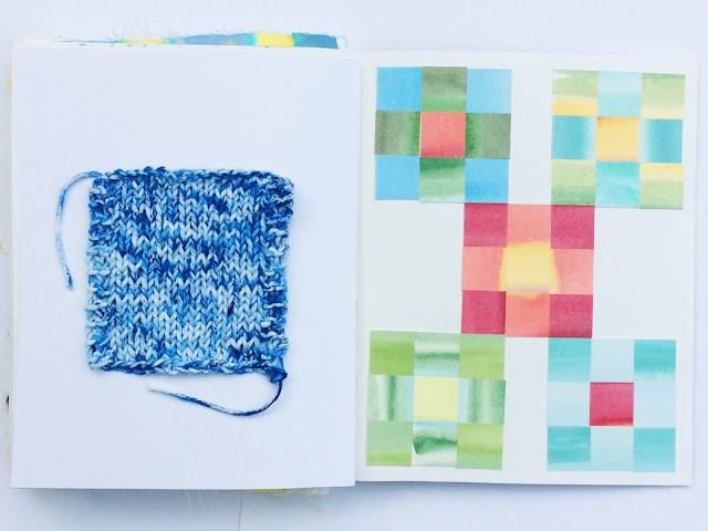 2x2, 2x2 Sketchbook, #2x2sketchbook, watercolor, patchwork, collage, knitting, Dana Barbieri, Anne Butera, artist collaboration