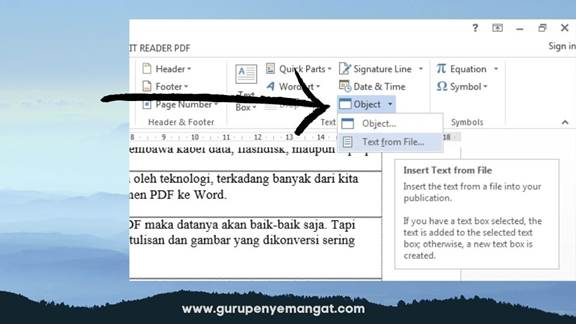 Fitur Text From File di Microsoft Word