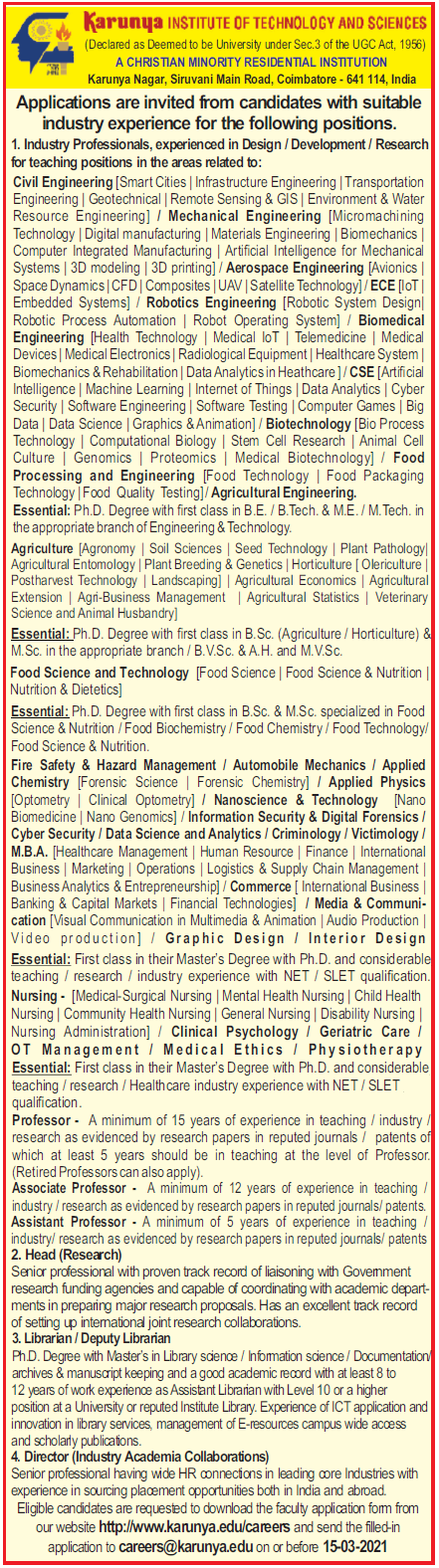 Karunya University Biotech/Life SciencesFaculty Jobs 2021