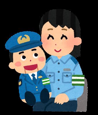 腹話術をする警察官のイラスト(女性)