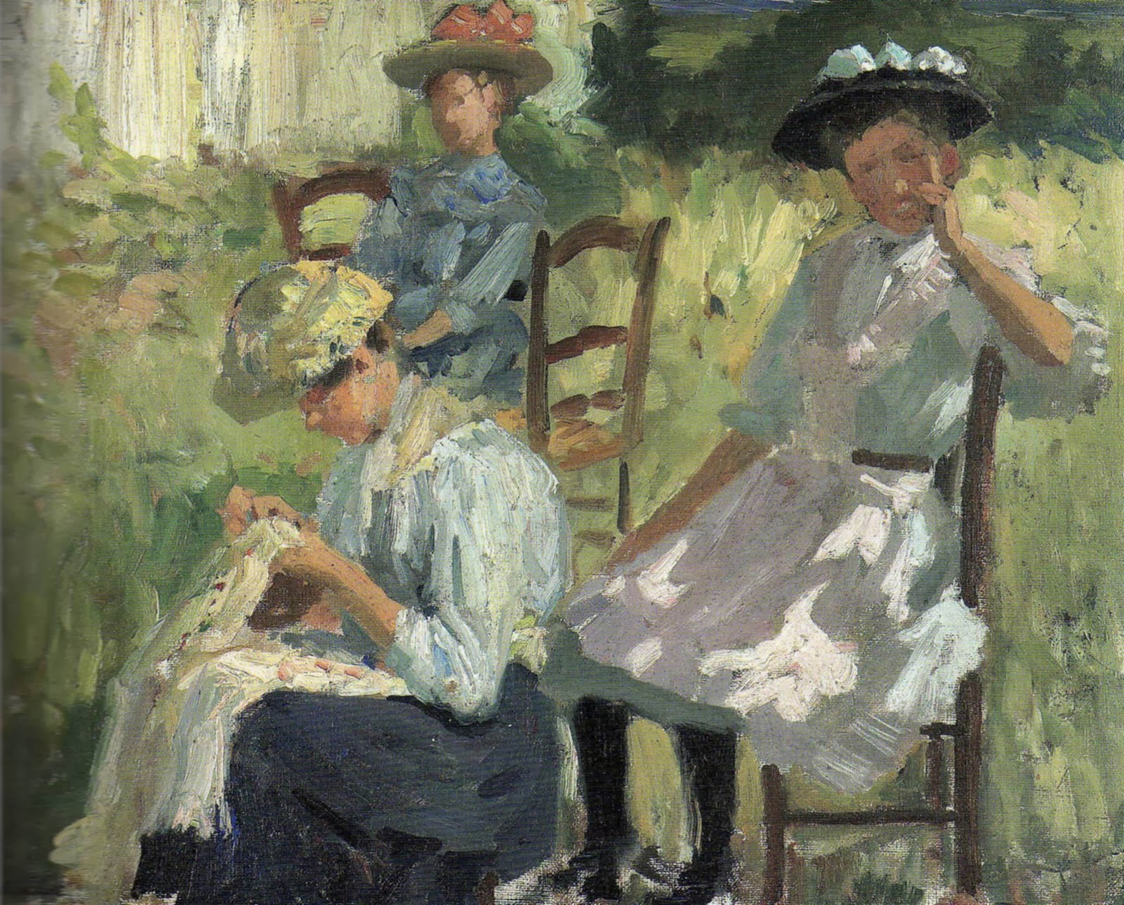 Adolphe  Valette  Louise  Sewing  with  Two  Friends