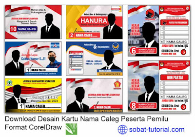 Download Desain Kartu Nama Caleg Peserta Pemilu Format CorelDraw
